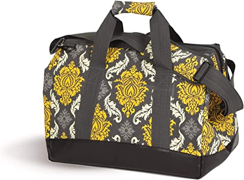 Picnic Plus Spacious Thermal Foil Lined Extra Large Cooler Bag Holds Hot or Cold Foods Provence Flair Gold Grey
