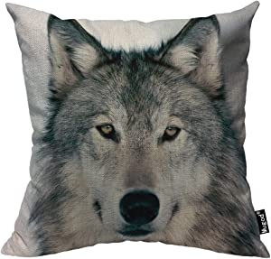 Mugod Grey Wolf Throw Pillow Case Winter Alpha Male Timber Wolf Face Portrait Gray Black Decorative Cotton Linen Square Cushion Covers Standard Pillowcase Couch Sofa Bed Men/Women 18x18 Inch