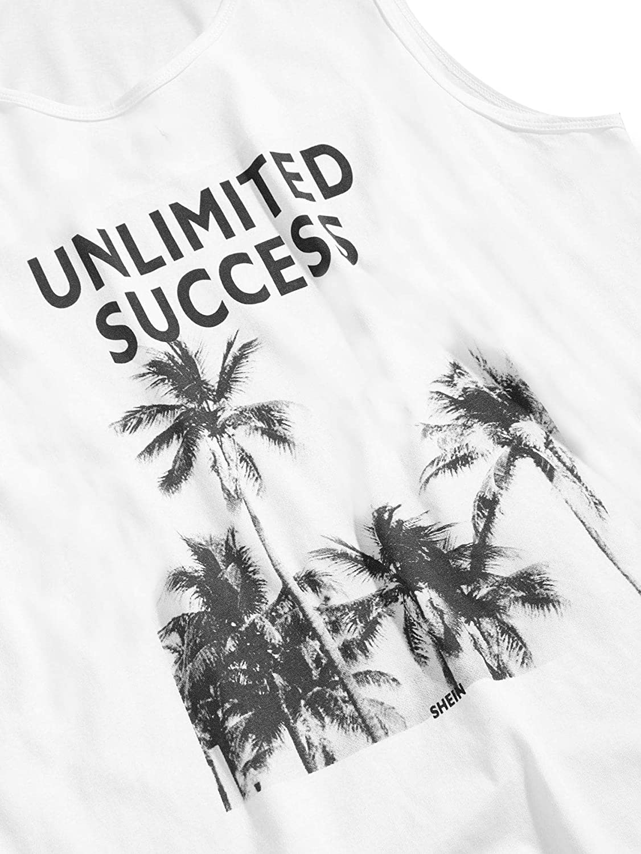 SweatyRocks Mens Summer Tropical Print Fitness Tank Top Sleeveless T-Shirts White Small