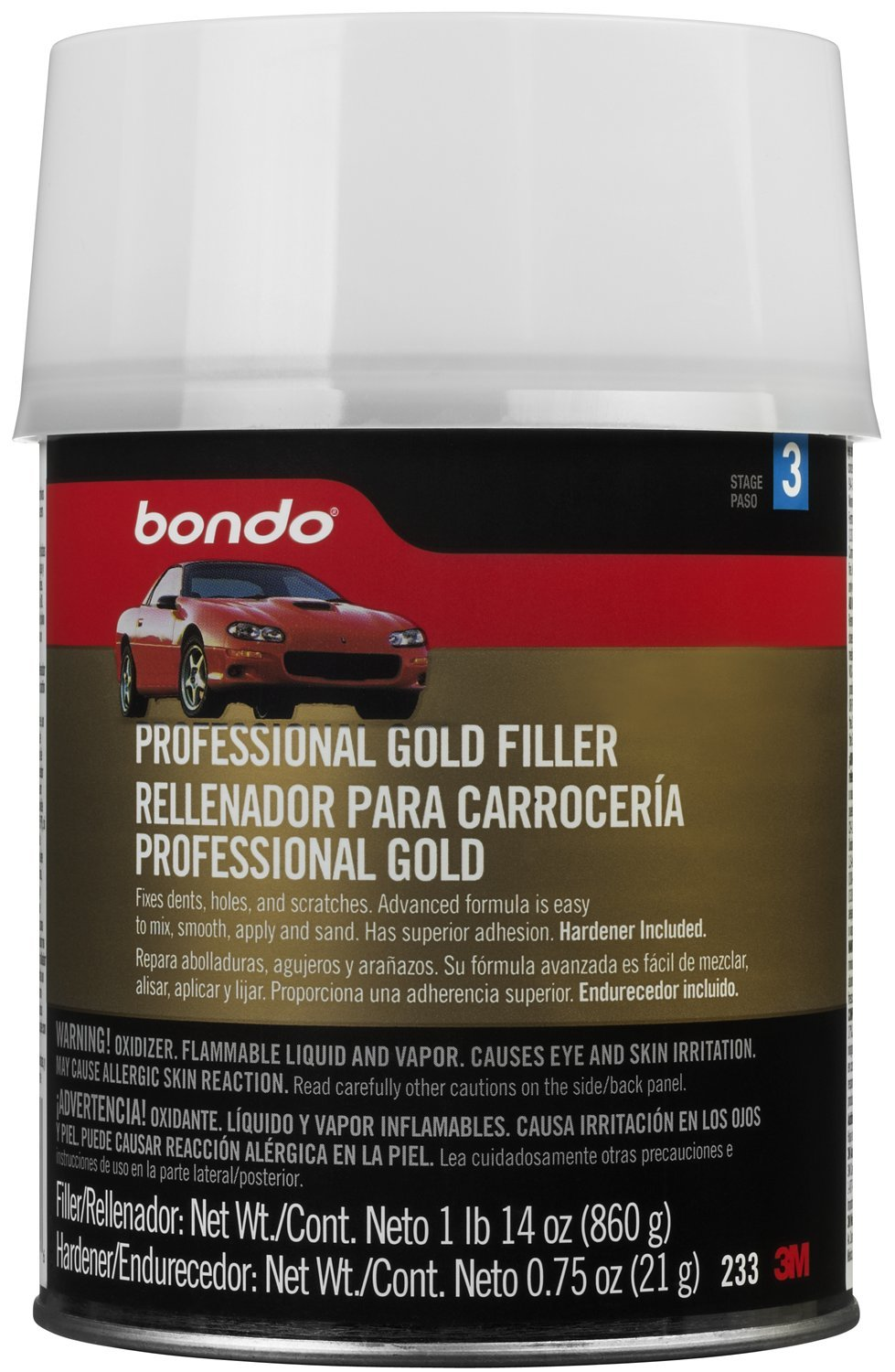 3M Bondo Professional Gold Filler, Quart Can (Net Weight 1 lb 14 oz), 233