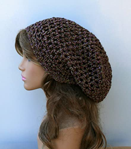 Amazon.com  Handmade cotton crochet slouchy beanie hat open stitch ... b0b80b9ad5e