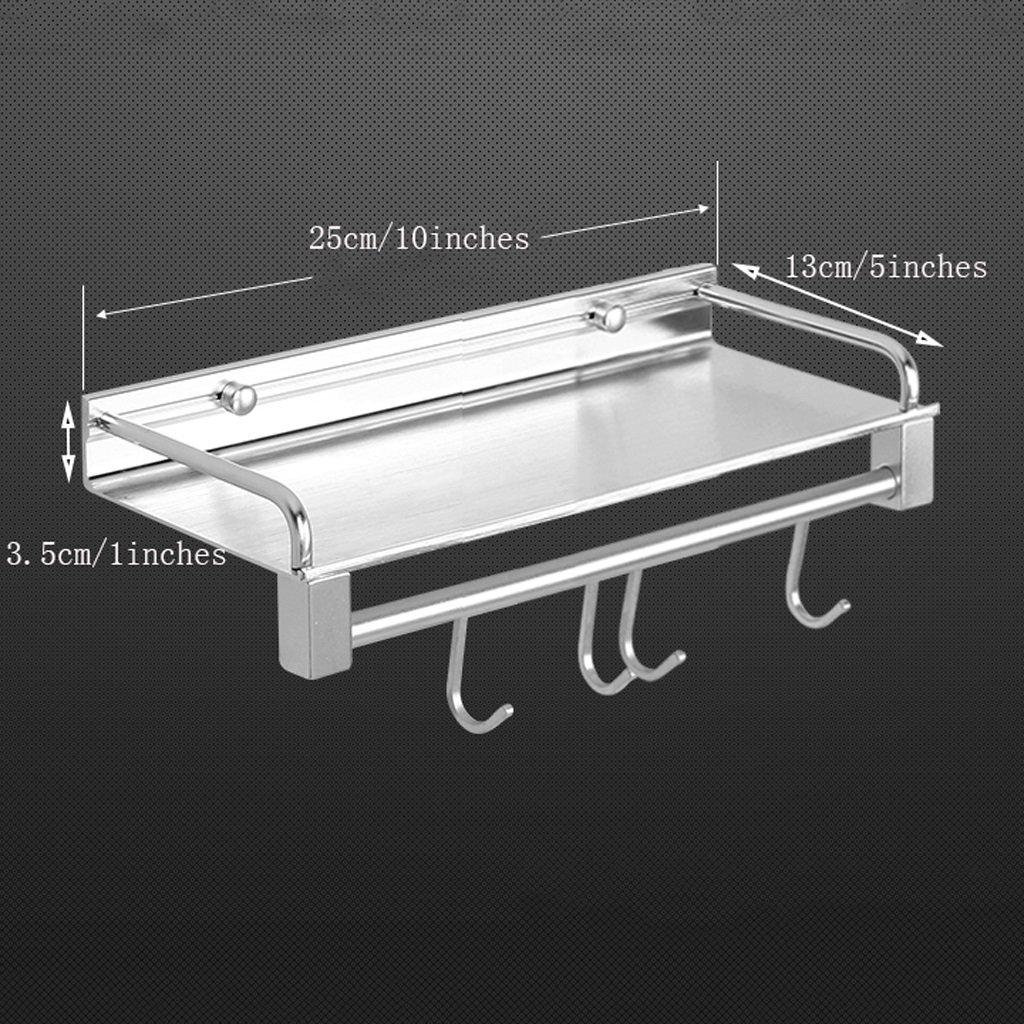 YXN Space Aluminum Bathroom Shelf Bathroom Solid Thick Metal Pendant Bathroom Single Layer With Hook Corner Frame (Size : 25cm)
