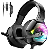 ONIKUMA Gaming Headset for PS5 PS4 with 7.1 Surround Sound & RGB LED Light,Xbox Series X|S,Xbox One Headset Noise…