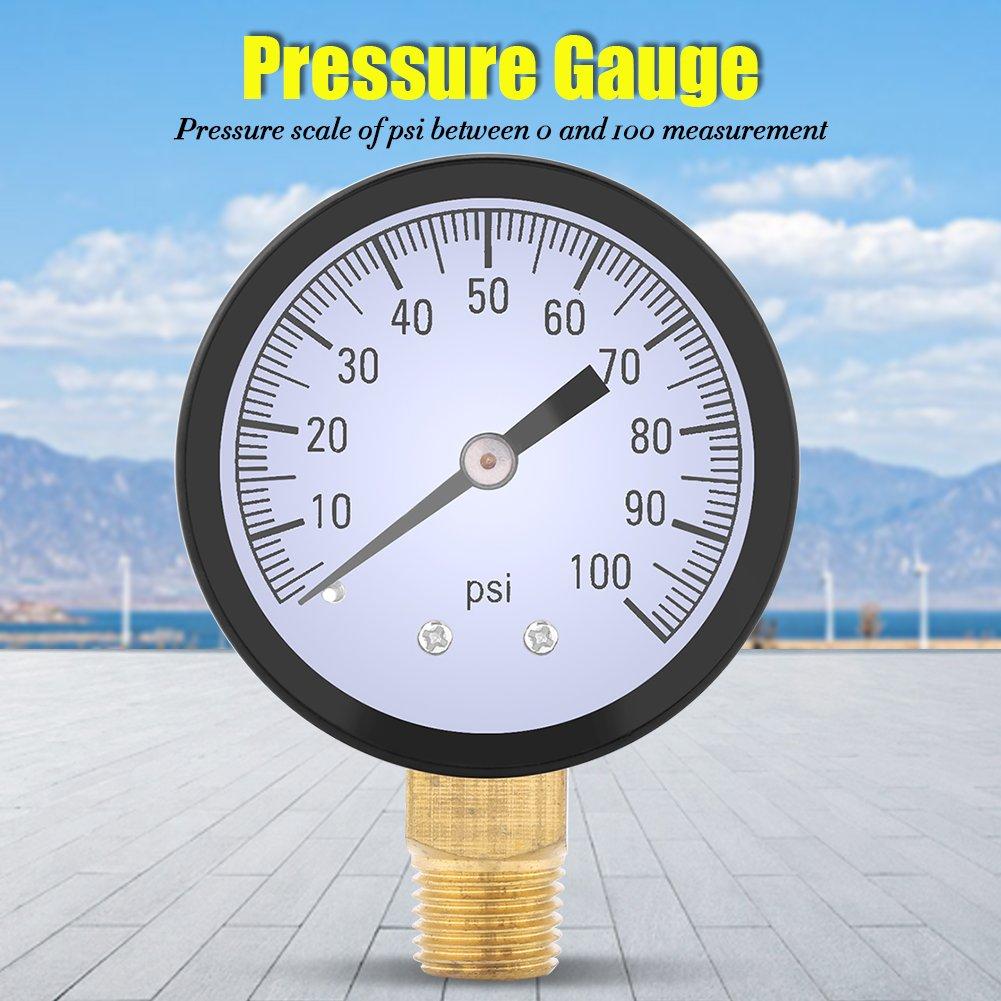 Manom/ètre 0-100PSI 1//4 BSPT Manom/ètre Manom/ètre Eau Huile Air Pression M/ètre