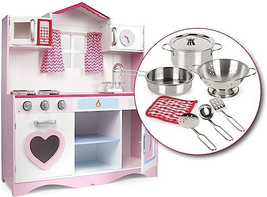 Leomark Cocina Madera Infantil de Juguete - Pink Play - Accesorios, para Niños, Efectos de luz y Sonido, Dim: 82x30x101(Altura) cm + Kit de ollas metálicas con los Accesorios