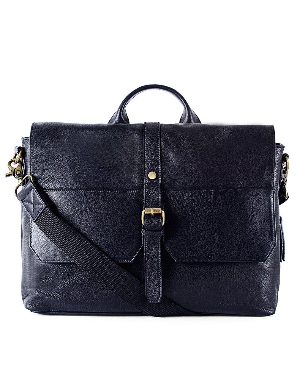 Gauge 17 Inch Textured Leather Laptop Messenger Bag Office Briefcase College Bag Satchel for Men (Black) 85%OFF