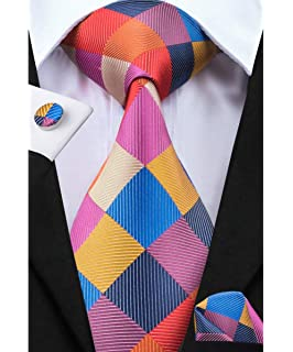 b1d77ff55382 Dubulle Mens Plaid Necktie and Hankerchief Set Woven Silk Tie for Business