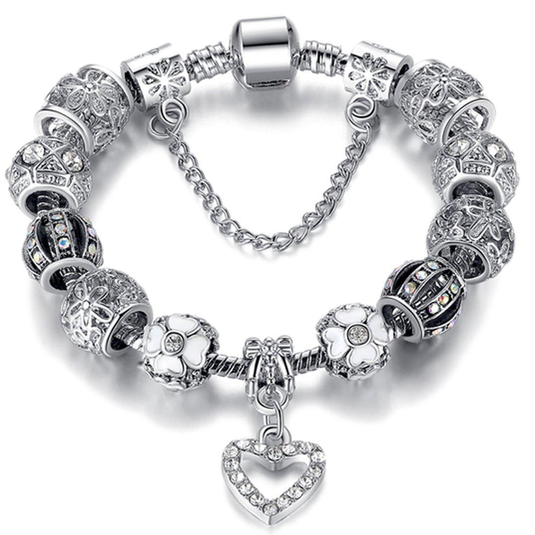 Silver Heart Charm Bracelet Free Ship Deal