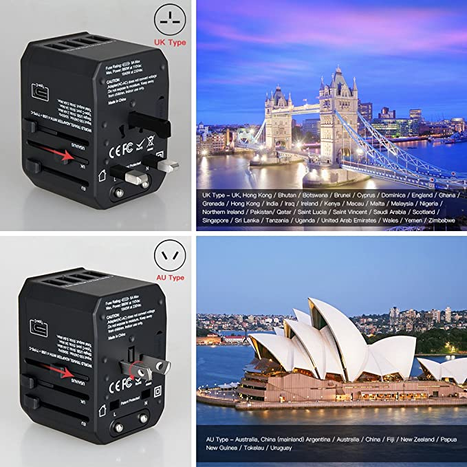 Amazon.com: Evershop Travel Power Adapter, All in One ...