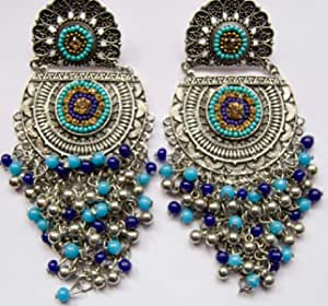 Blue & Silver beads danglers