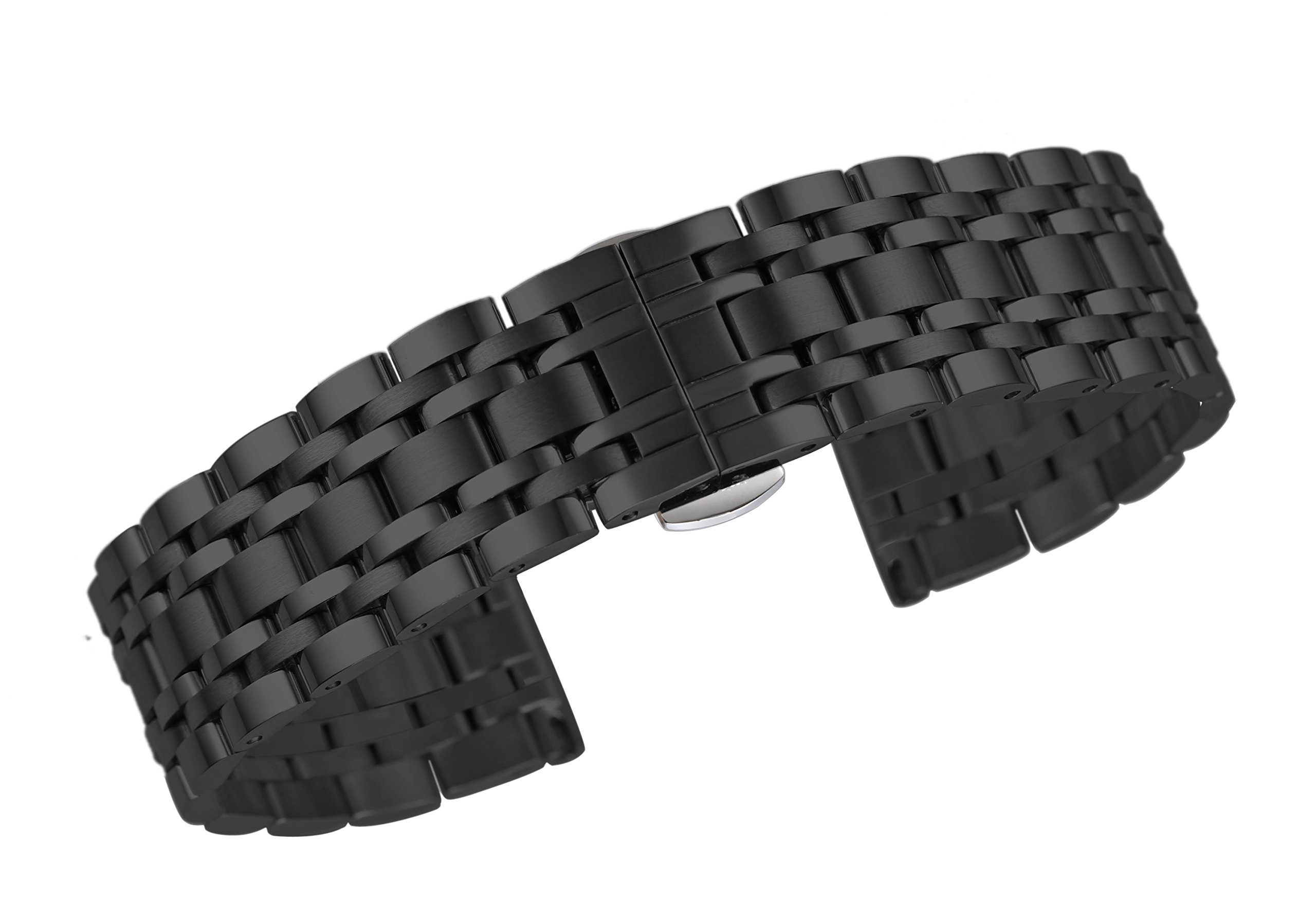 26mm Men's Black Wide Metal Watch Bands for Big Wrist 316L Stainless Steel Polished with Removable Links