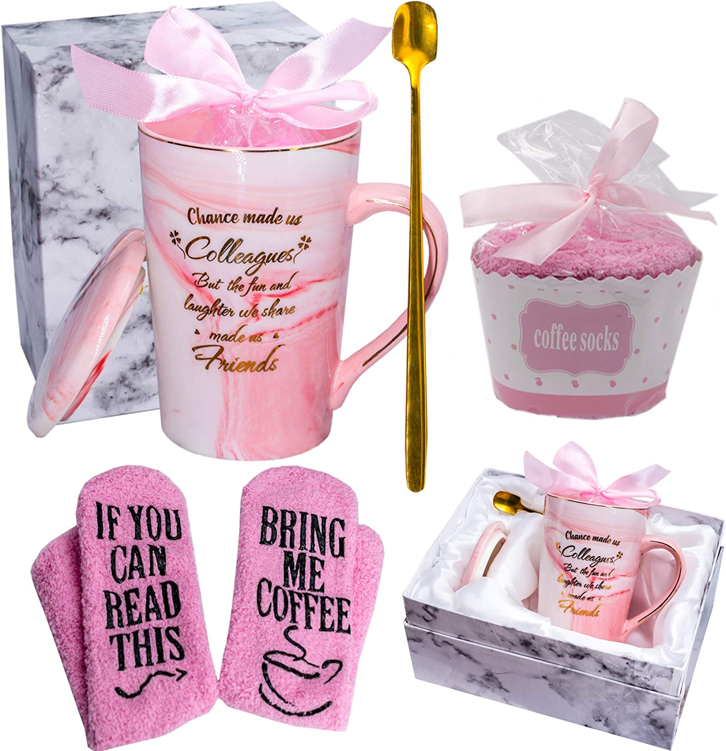 Mugpie Chance Made Us Colleagues Coffee Mug- Funny Coworker Gifts Birthday Gifts for Female Boss Women Friends Office Gifts for Mother's Day -Perfect Gifts for Going away Leaving Farewell + Cute Socks