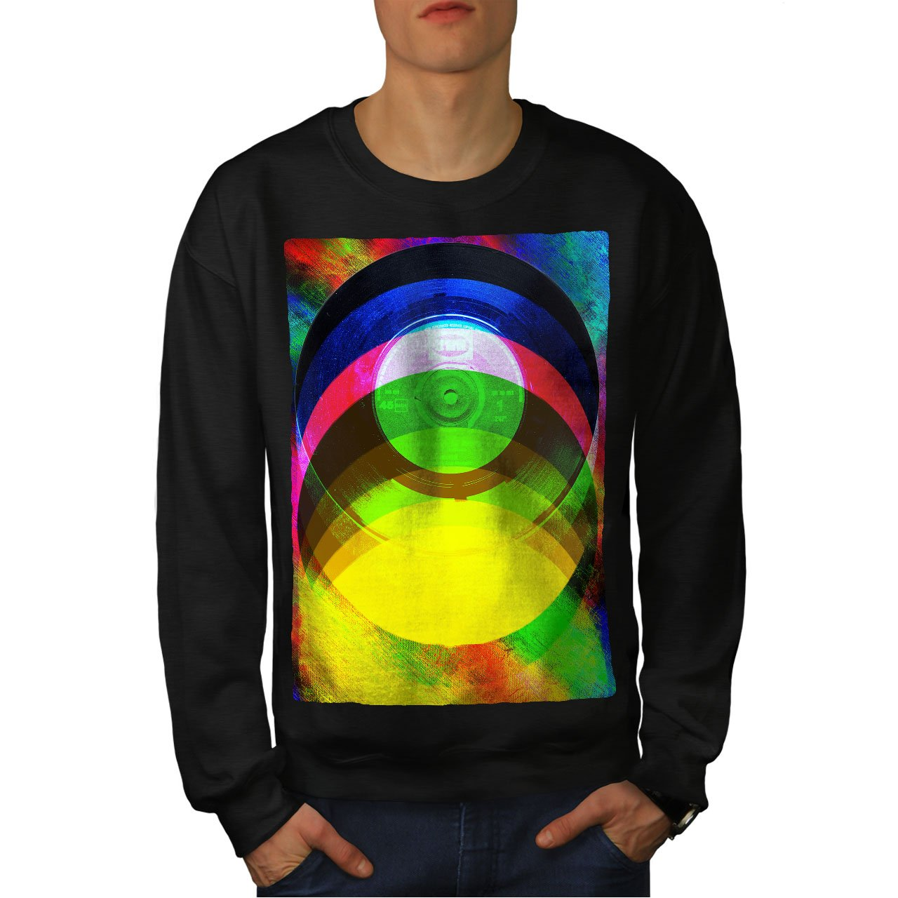 wellcoda Vinyl Colored Player Mens Sweatshirt Music Casual Jumper