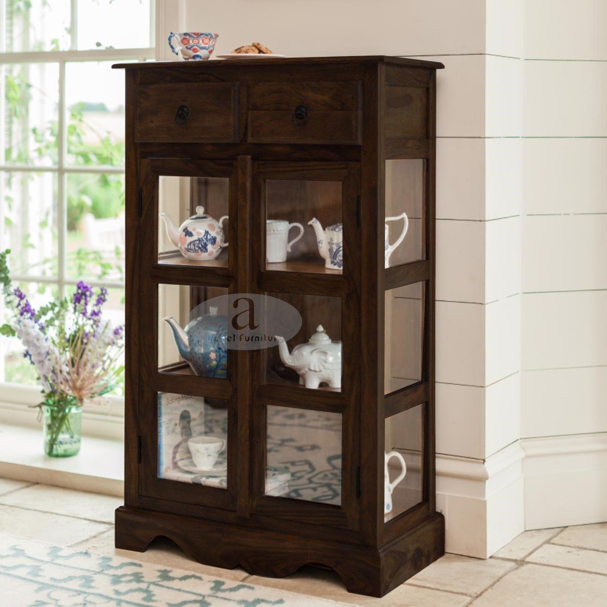 Angel S Solid Sheesham Kitchen Crockery Cabinet In Walnut Finish Amazon In Home Kitchen