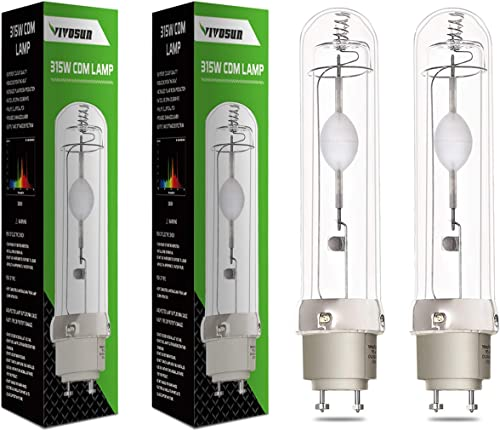 VIVOSUN 2-Pack Full-Spectrum 315W 3000K Ceramic Metal Halide Grow Light Bulb High Efficiency Low Heat CMH CDM Grow Lamp for Flowering
