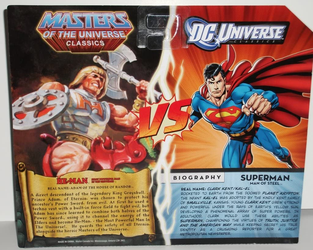 Amazon Com Dc Universe Masters Of The Universe Classics Exclusive Action Figure 2pack Superman Vs Heman Toys Games