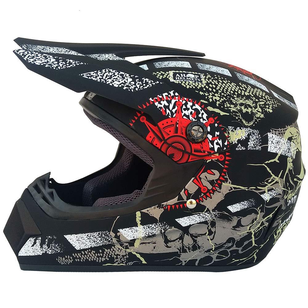 Wansheng Adulto Motocross Casco MX Moto Casco Scooter ATV Casco Carretera Carrera D. O. T Certificado Rockstar Guantes Máscara A Prueba De Viento (S, M, L, ...