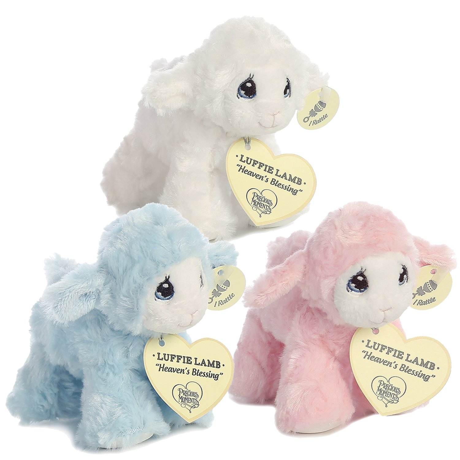 Precious Moments Luffie Lamb Heaven's Blessings Baby Rattle, Set of 3 (Pink, Blue & White)