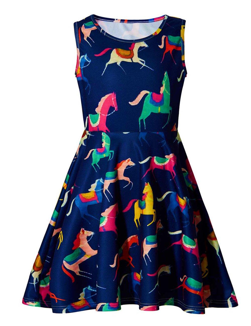 Uideazone Little Girls Print Unicorn Cute Funny A-Line Sleeveless Dress 6-7 Years