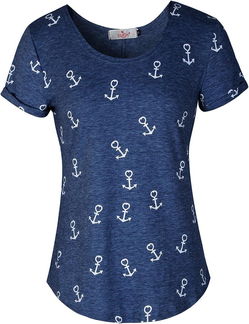 sehr angenehm zu Tragen leicht und luftig ELFIN Damen T-Shirt Top mit Anker Druck Rundhals Kurzarm Ladies Sommer Shirt Anker Sailing Tee Allover Print