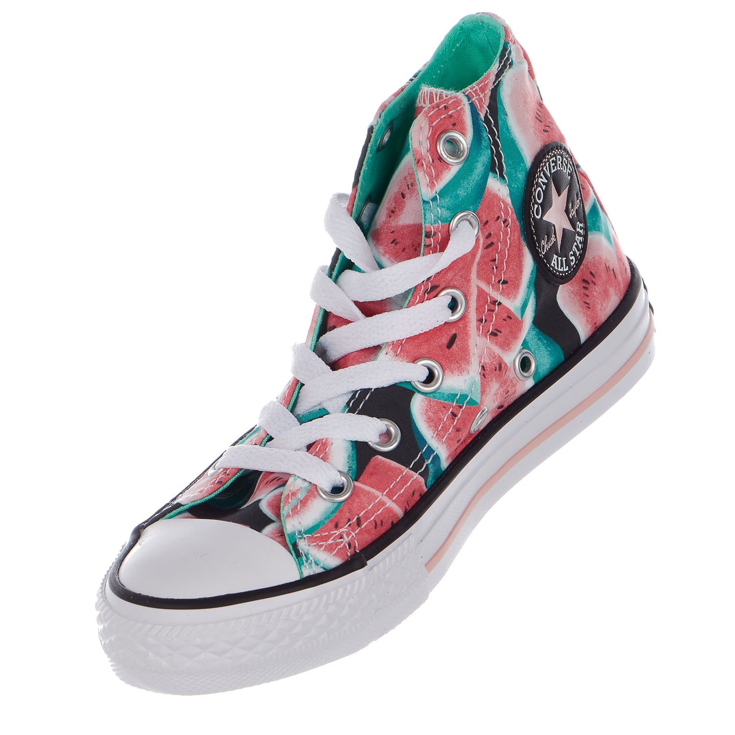 Converse Kids Chuck Taylor All Star Hi Pink//Green Glow//White 6 Kids