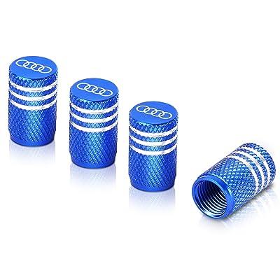 Qideloon Tire Valve Caps,Aluminum Valve Stem Caps Compatible with Audi Accessories Car,Trucks,Motorbike 4pcs (Blue): Automotive