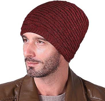 XIAOYAO Gorro Invierno Hombre con Bufanda, Calentar Sombreros Gorras Beanie de Punto (Rojo): Amazon.es: Deportes y aire libre