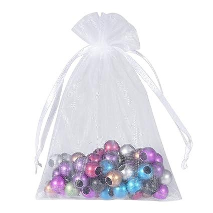 b801e503ae3f Housweety Organza Drawstring Pouches Jewelry Party Wedding Gift Bags 13cm  X18cm(5 1/8