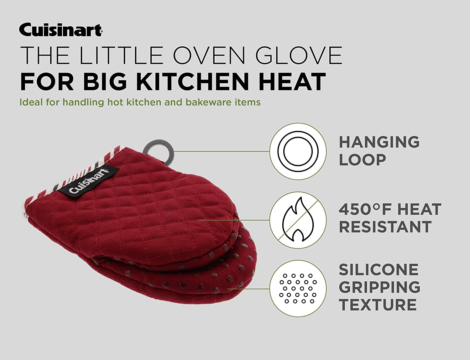 Hanging Loop Jet Black 2 Pack Heat Resistant 7 x 5 Inches Cuisinart Silicone Mini Oven Mitts Non-Slip Grip Little Oven Gloves for Cooking Ideal for Handling Hot Kitchen//Bakeware Items