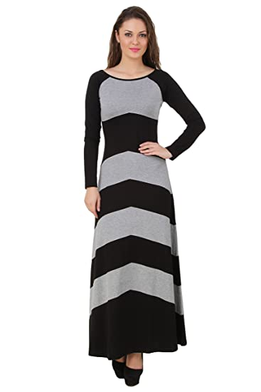 99689d082b0f TEXCO Long Grey and Black Maxi Dress  Amazon.in  Clothing   Accessories