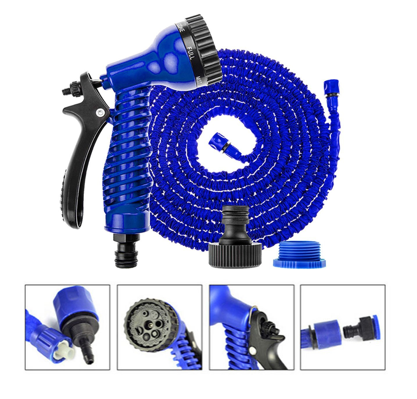 dicn Expandable Hose Pipe 200FT with 7 Function Spray Gun Magic Garden Hosepipe Flexible Blue for Watering Cleaning Washing Cars Pets dicn factory