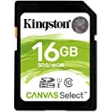 Kingston Carte Mémoire SD card SDS/16GB  Canvas Select UHS-I Classe 10 avec vitesse de lecture allant jusqu'à 80Mo/s