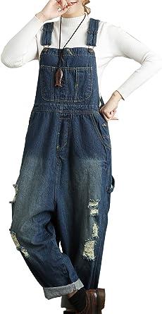 Spring Summer Women Loose Fit Denim Wide Leg Crotch Denim Harem Pants Jumpsuit