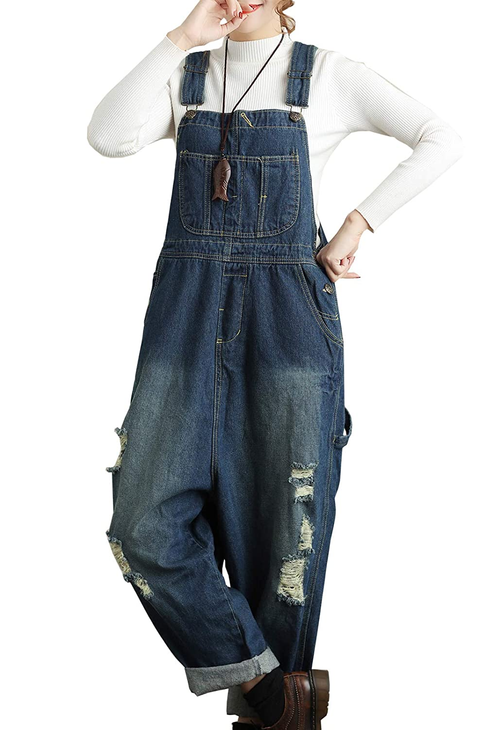 cd4a02130b2 Amazon.com  Flygo Women s Loose Baggy Cotton Wide Leg Drop Crotch Cropped Jumpsuit  Rompers Overalls  Clothing