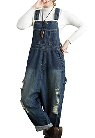 1d1242533 Flygo Women's Loose Baggy Denim Ripped Wide Leg Jumpsuit Rompers Overalls  Harem Pants (Large (