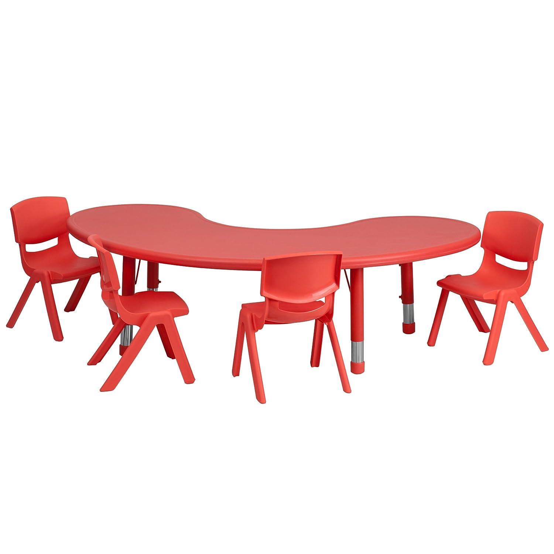 Amazon Flash Furniture 35 W x 65 L Half Moon Green Plastic