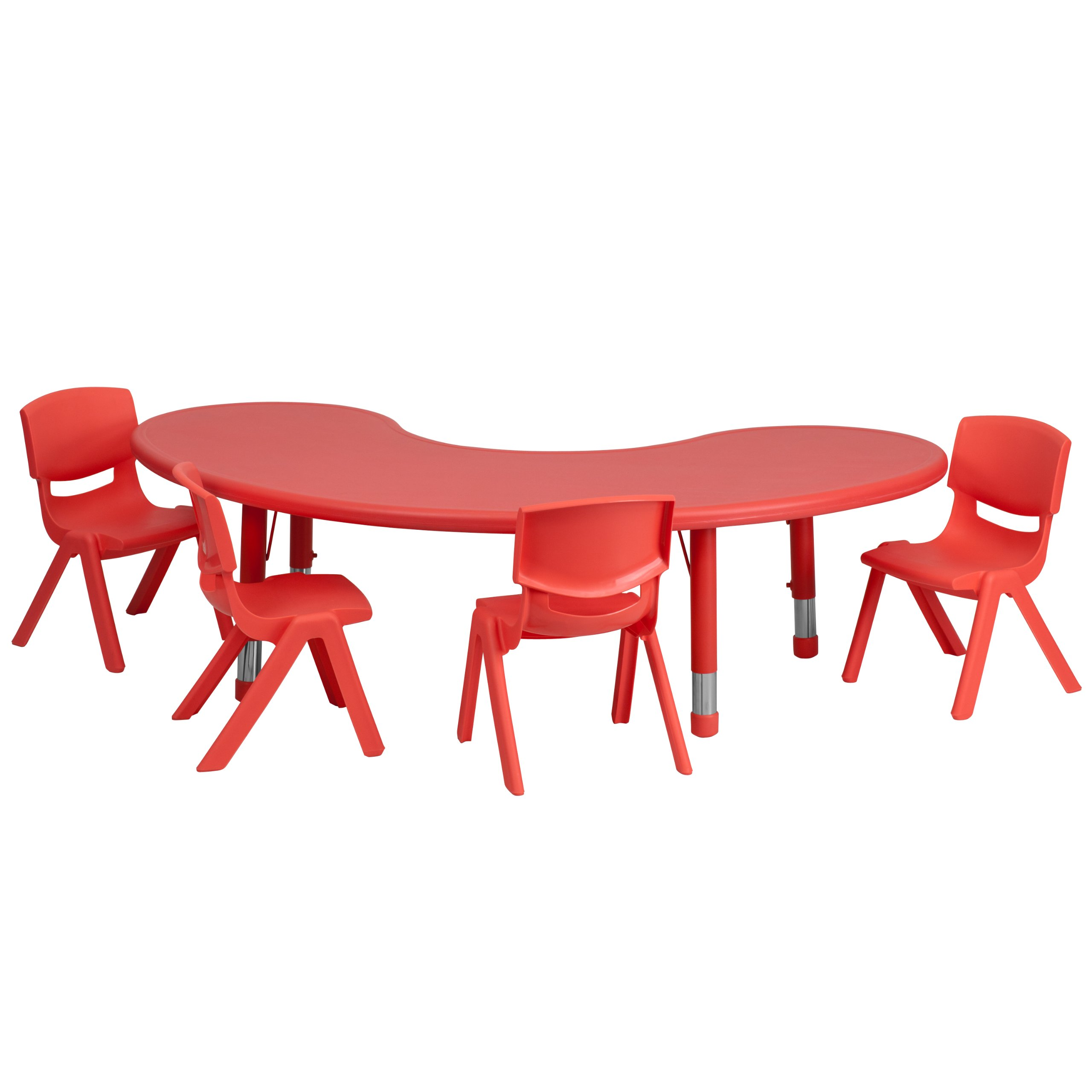Flash Furniture 35''W x 65''L Half-Moon Red Plastic Height Adjustable Activity Table Set with 4 Chairs by Flash Furniture