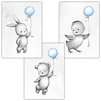 Amazon.de: frechdax® 3er Set Kinderzimmer Poster Babyzimmer DIN A4 ...