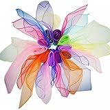 Quadrat Jonglier Tücher Tanz schals für Kinder und Zaubertricks, Mehrfarbige 10 Stücke 60cm x 60cm--WonderforU