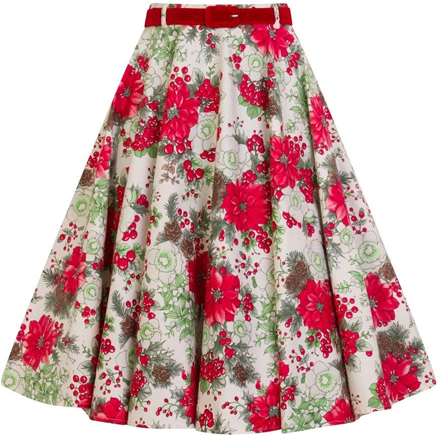HELL BUNNY JENNIE IVORY SKIRT winter RED FLORAL HOLLY xmas CHRISTMAS 50s XS-4XL
