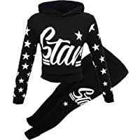 Girls Star Printed Long Sleeve Hooded Top & Bottom Set Kids Tracksuit Jogging Set Fashion Outfit Age 7-13 Years