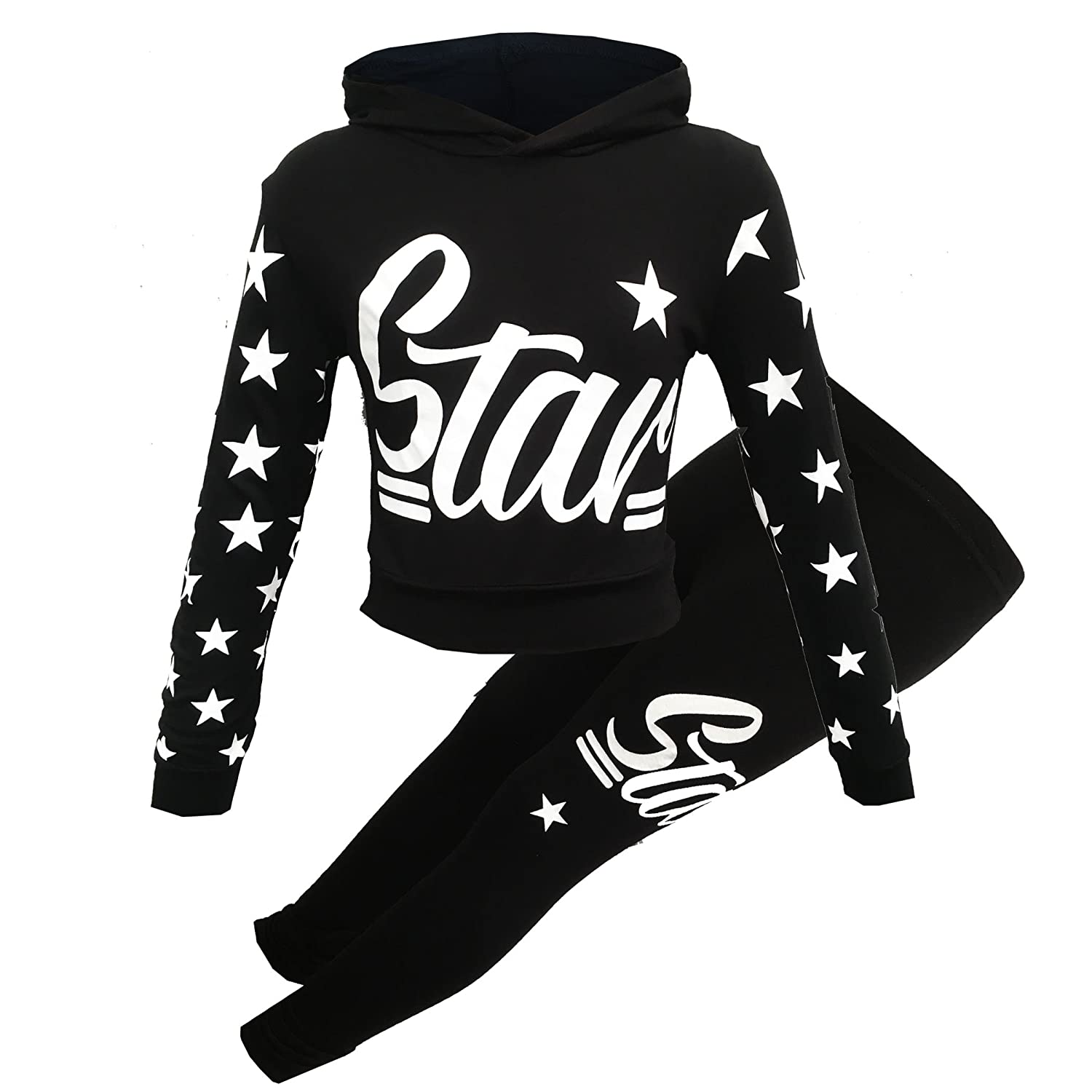 Girls Star Printed Long Sleeve Hooded Top /& Bottom Set Kids Tracksuit Jogging Set Fashion Outfit Age 7-13 Years
