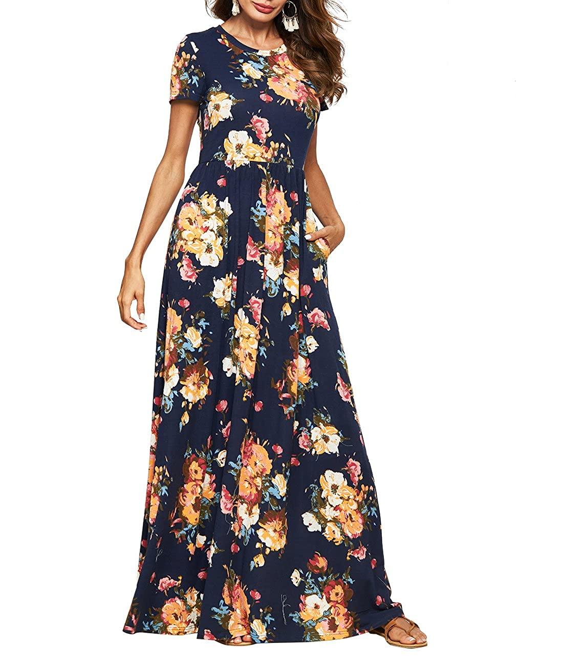 7d7a7cef661 Pull On closure. Summer Short Sleeve Maxi Dress for Women Long Beach Dress  Casual Floor Length Dress for Women. Features Short Sleeve