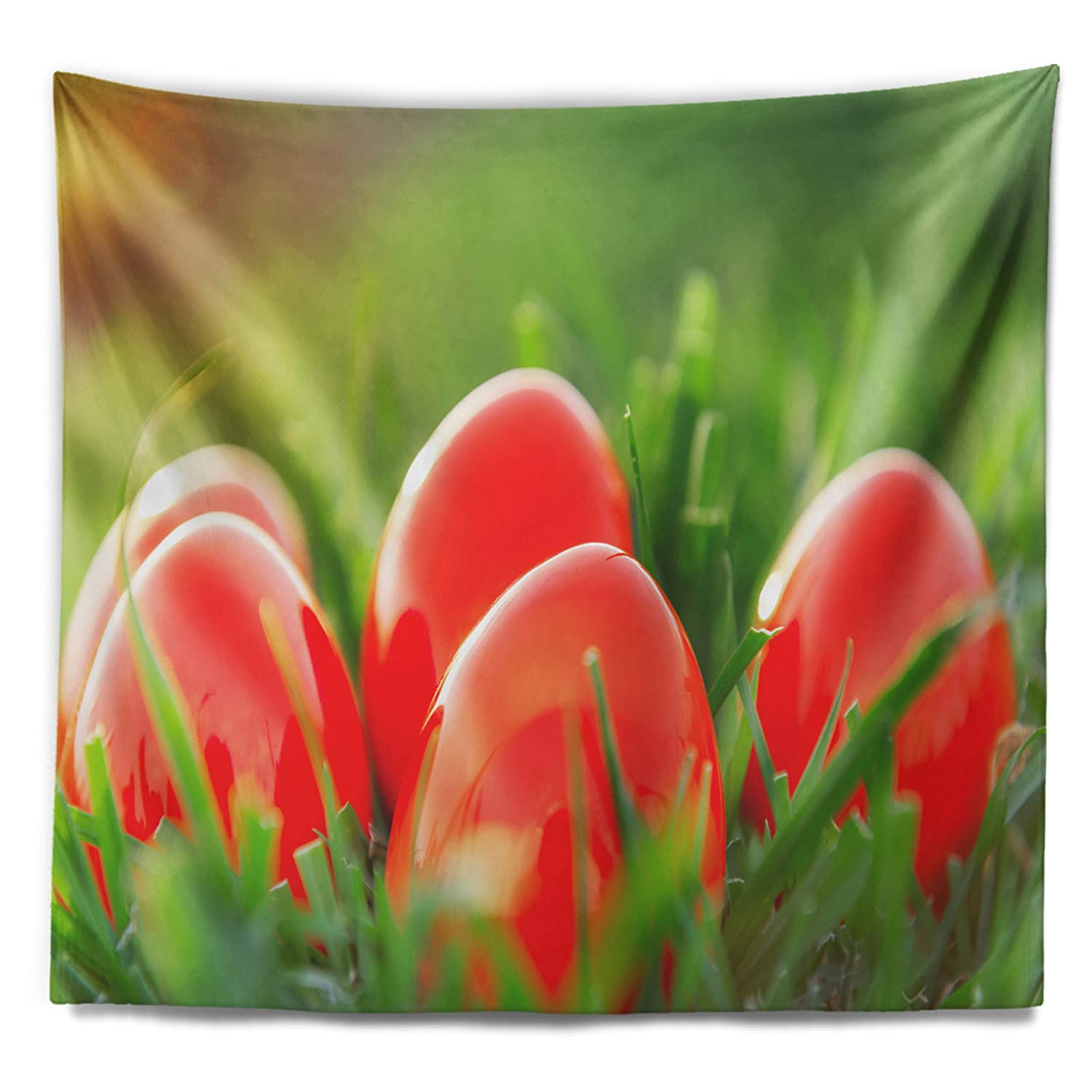 80 x 68 Created On Lightweight Polyester Fabric Designart TAP9624-80-68  Red Easter Eggs in Green Grass Landscape Photography Blanket D/écor Art for Home and Office Wall Tapestry x Large