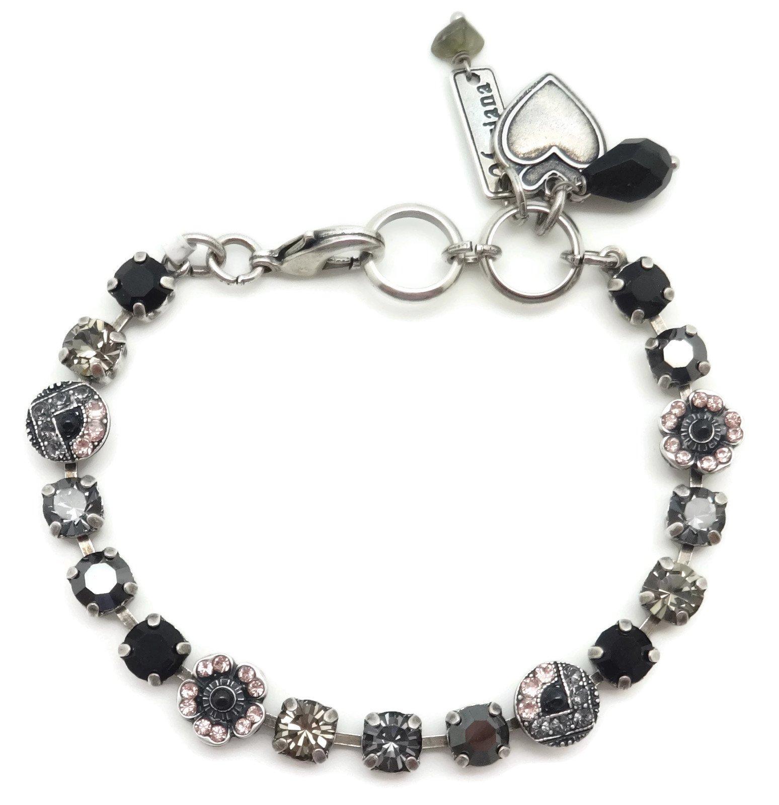 Mariana Swarovski Crystal Silver Plated Bracelet Petite Pink Grey Black Mosaic 1073 Black Velvet