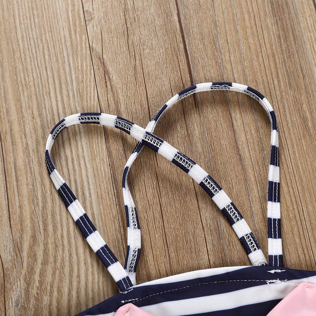 feiXIANG Bikini Badehose Set M/ädchen Bowknot Streifen Badeanzug Outfits Kinder Baby Swimwear Sommer