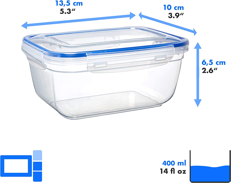 Grizzly Contenitore per Alimenti con Coperchio senza BPA Ermetico Set da 8 Anti Perdite 400 ml Rettangolare