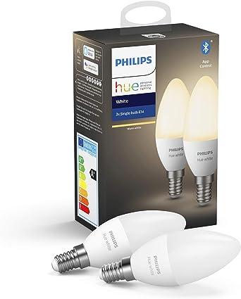 Philips Hue Pack de 2 Bombillas Inteligentes LED E14, con ...