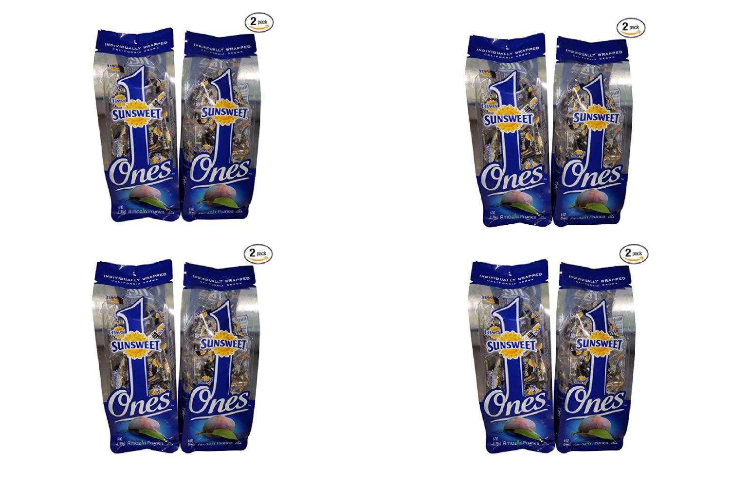 Sunsweet Gold Label Ones Super Select California Individually Wrapped Prunes 6.0 Ounces (Pack of 2)(Packaging May Vary) (4 Pack)