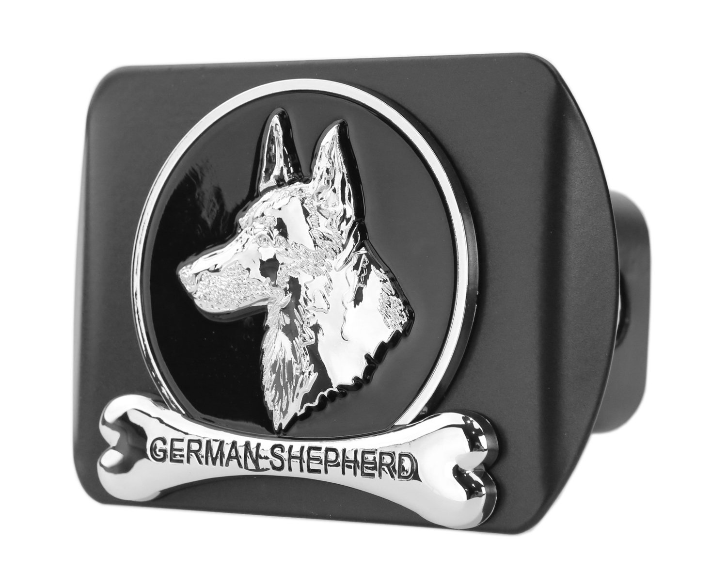 Dog Chrome 3D Badge Emblem Metal Trailer Hitch Cover (Fits 2' Receiver, German Shepherd) eVerHITCH